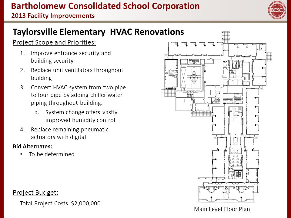 Bartholomew Consolidated School Corporation 2013 Facility Improvements Taylorsville Elementary HVAC Renovations Main Level Floor Plan Project Scope an