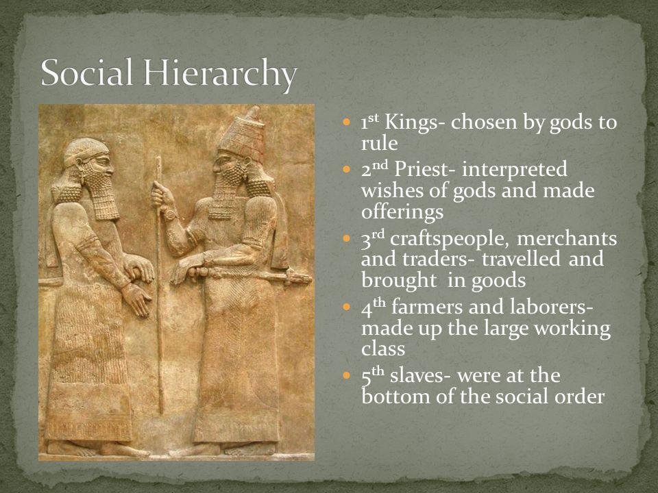 1 st Kings- chosen by gods to rule 2 nd Priest- interpreted wishes of gods and made offerings 3 rd craftspeople, merchants and traders- travelled and