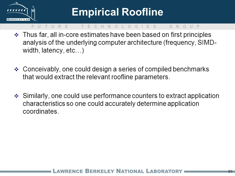 FUTURE TECHNOLOGIES GROUP L AWRENCE B ERKELEY N ATIONAL L ABORATORY Empirical Roofline Thus far, all in-core estimates have been based on first princi