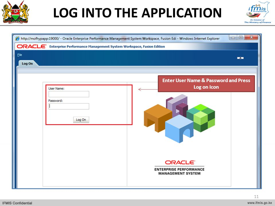 LOG INTO THE APPLICATION Enter User Name & Password and Press Log on Icon 11