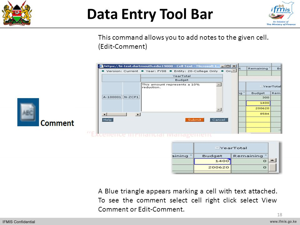 Data Entry Tool Bar A Blue triangle appears marking a cell with text attached. To see the comment select cell right click select View Comment or Edit-