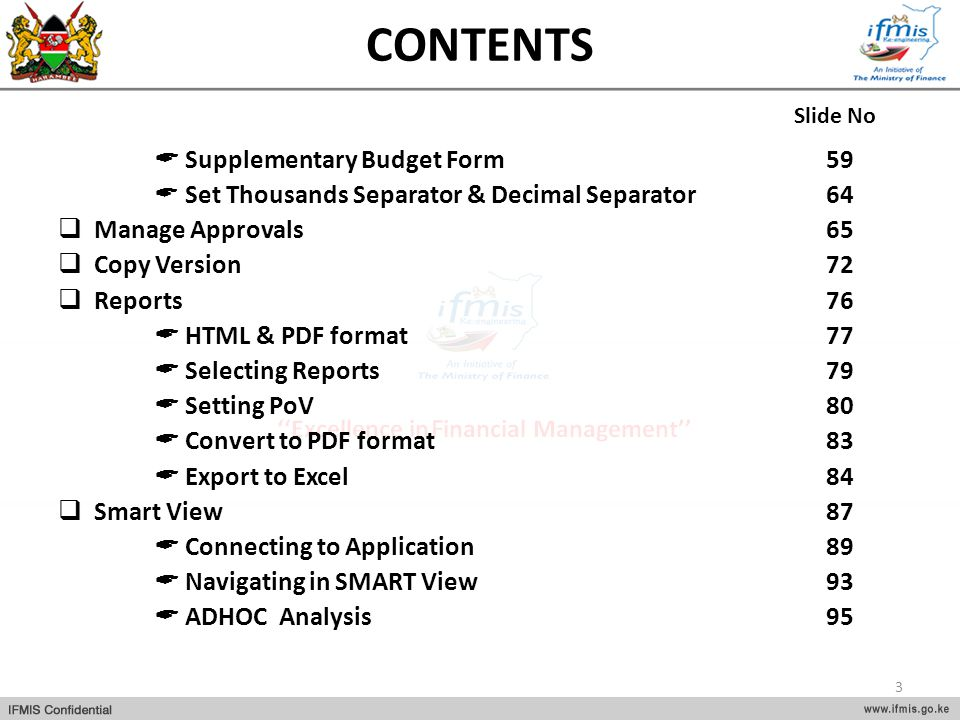 CONTENTS Supplementary Budget Form 59 Set Thousands Separator & Decimal Separator64 Manage Approvals65 Copy Version72 Reports76 HTML & PDF format77 Se