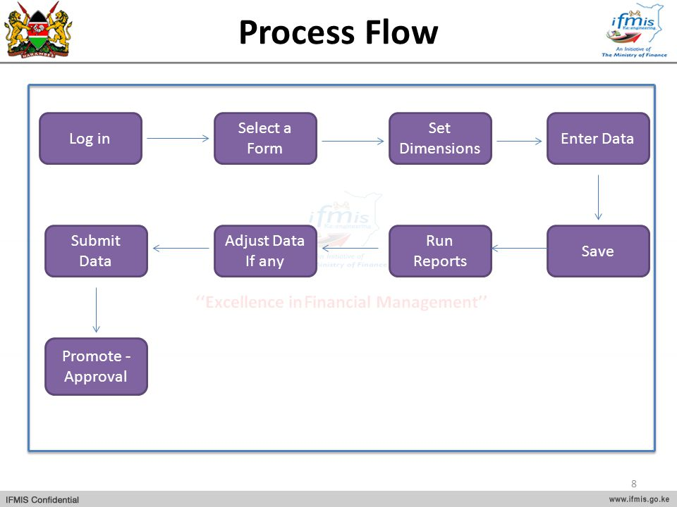 Process Flow Log in Save Enter Data Set Dimensions Select a Form Promote - Approval Submit Data Adjust Data If any Run Reports 8