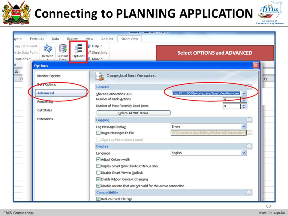 Connecting to PLANNING APPLICATION Select OPTIONS and ADVANCED 89