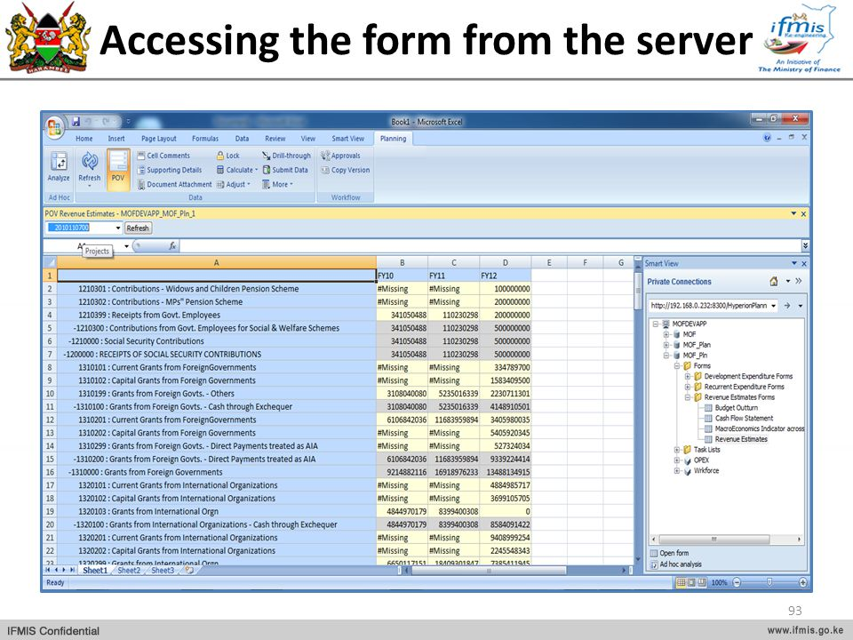 Accessing the form from the server 93