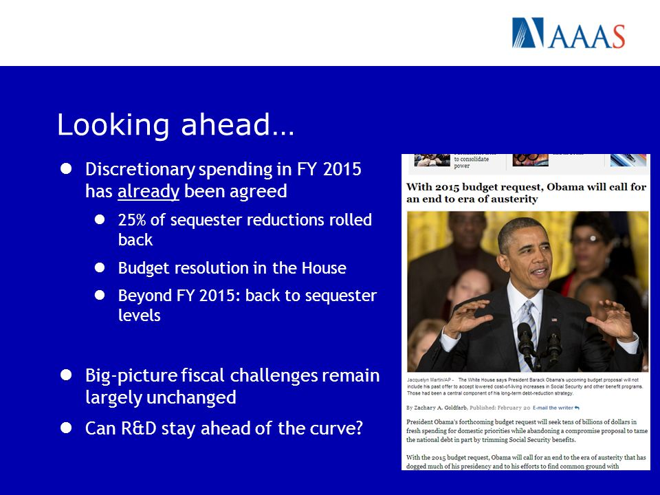 Looking ahead… Discretionary spending in FY 2015 has already been agreed 25% of sequester reductions rolled back Budget resolution in the House Beyond