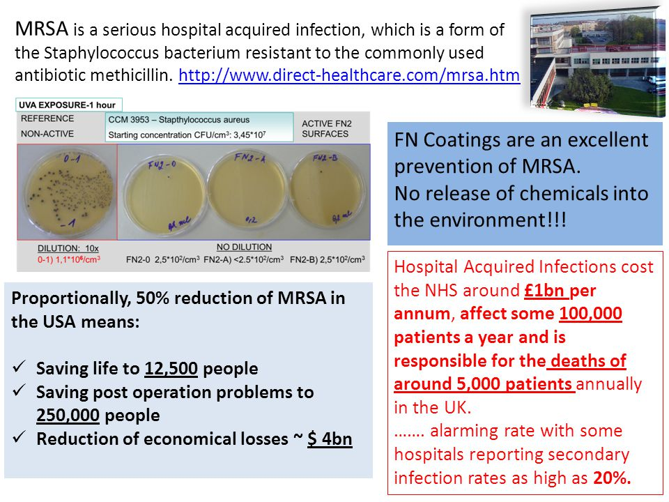 MRSA is a serious hospital acquired infection, which is a form of the Staphylococcus bacterium resistant to the commonly used antibiotic methicillin.