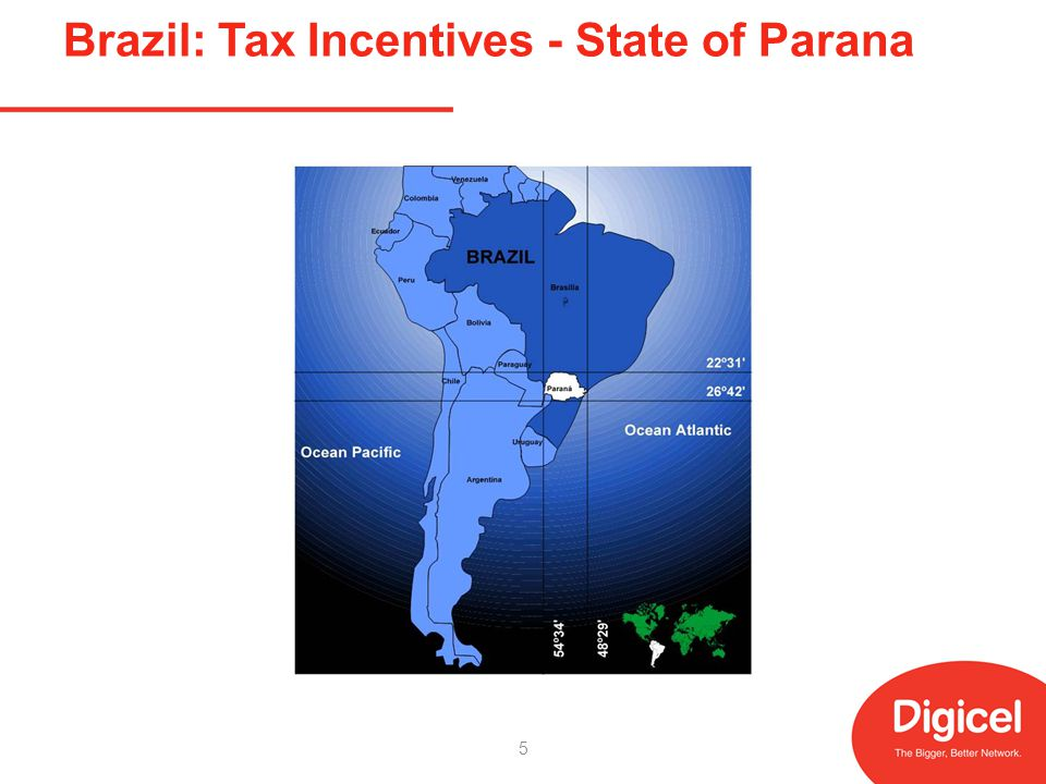 Brazil: Tax Incentives State of Parana State energy company using its fibre optic network to provide 100Mbps broadband Tax deferments in return for providing: – wholesale1Mbps at or below a price ceiling; – reserving 15% capacity for low income groups paying at or below other lower price ceilings – 10: 1 contention ratio required 6
