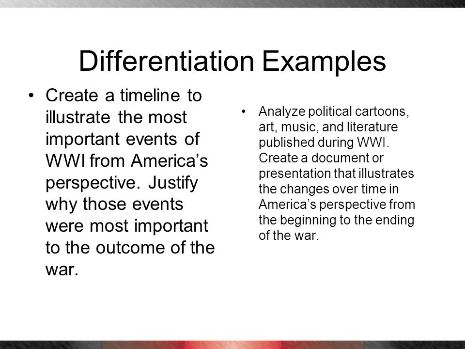 Differentiation Examples Create a timeline to illustrate the most important events of WWI from Americas perspective. Justify why those events were mos
