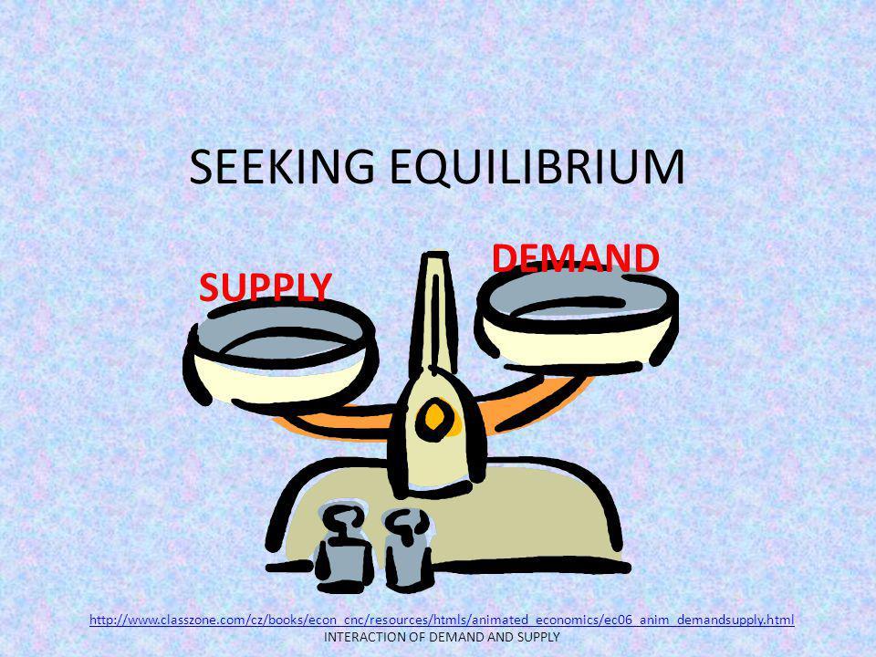 SEEKING EQUILIBRIUM SUPPLY DEMAND http://www.classzone.com/cz/books/econ_cnc/resources/htmls/animated_economics/ec06_anim_demandsupply.html INTERACTIO