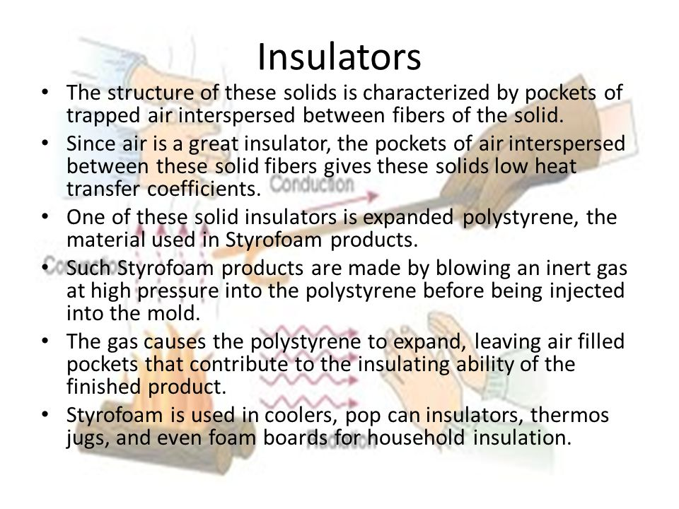 Insulators The structure of these solids is characterized by pockets of trapped air interspersed between fibers of the solid.
