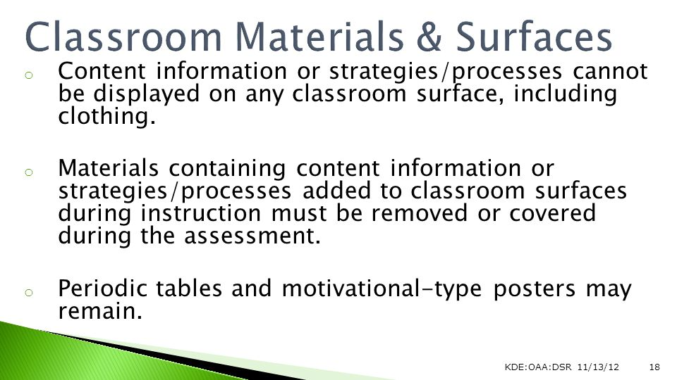 o Content information or strategies/processes cannot be displayed on any classroom surface, including clothing.