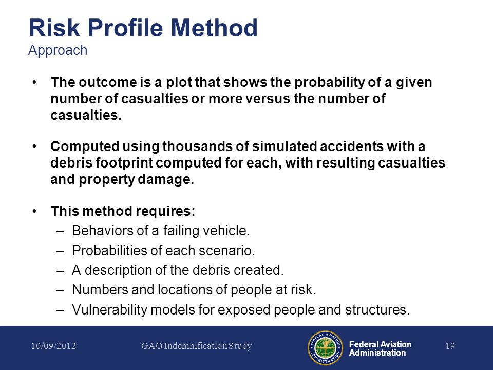 Federal Aviation Administration Risk Profile Method Approach The outcome is a plot that shows the probability of a given number of casualties or more