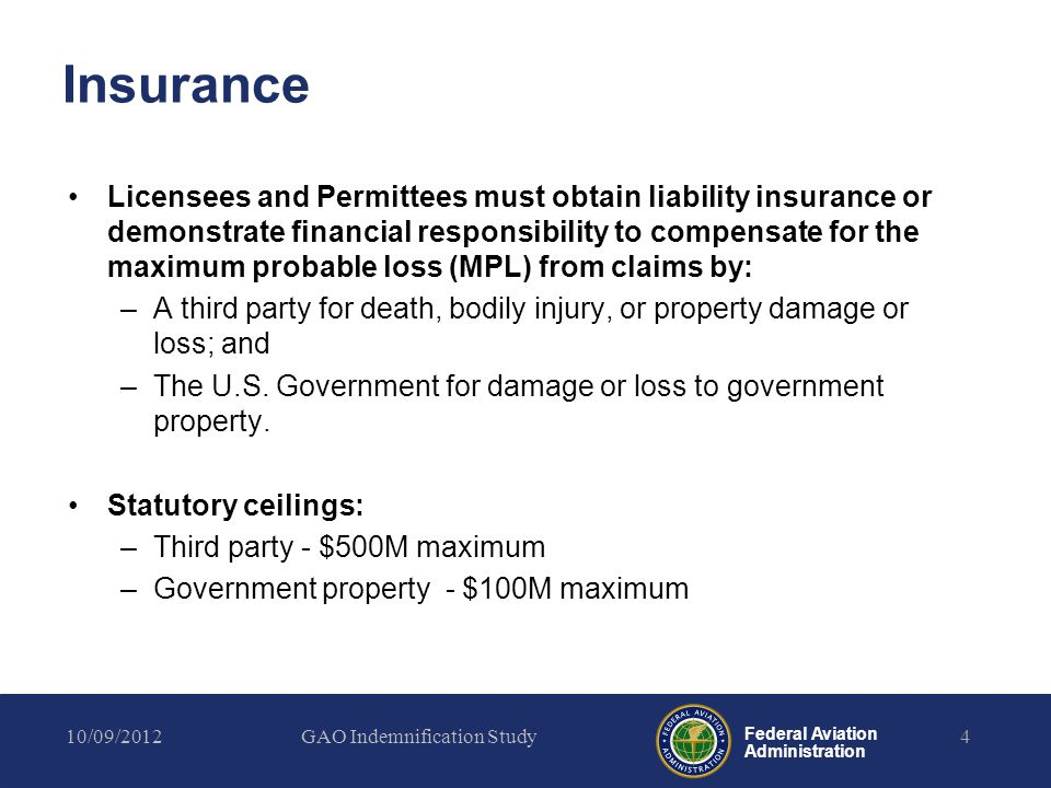 Federal Aviation Administration Insurance Licensees and Permittees must obtain liability insurance or demonstrate financial responsibility to compensa