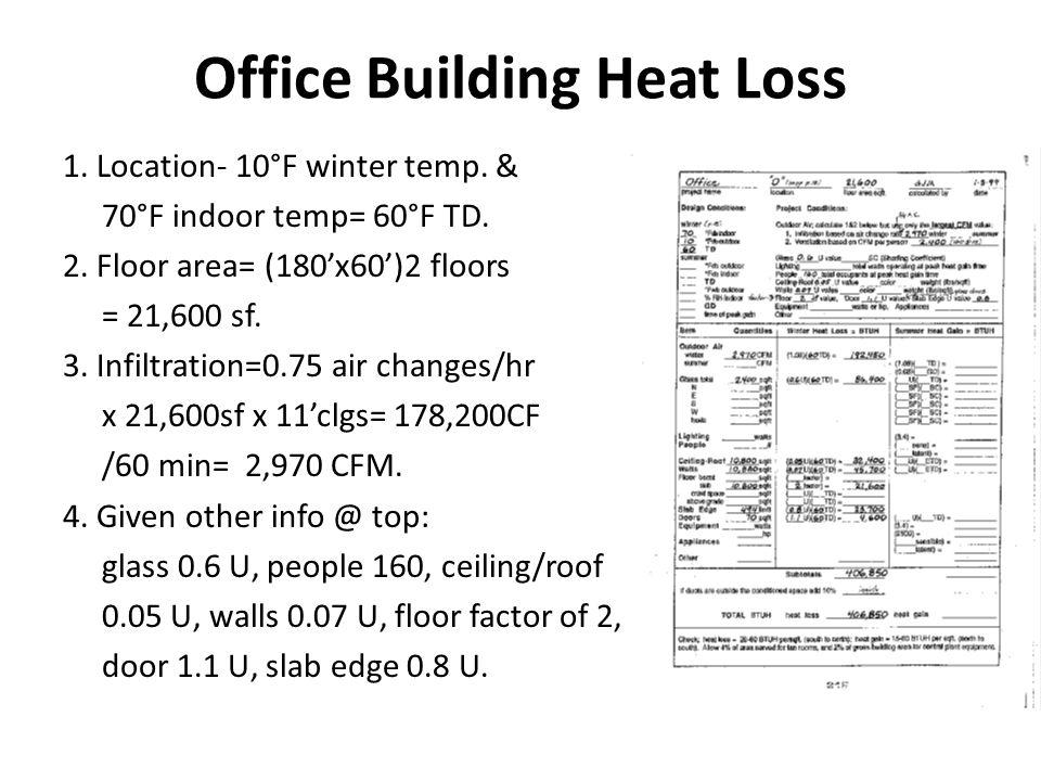 Office Building Heat Loss 1.Location- 10°F winter temp.