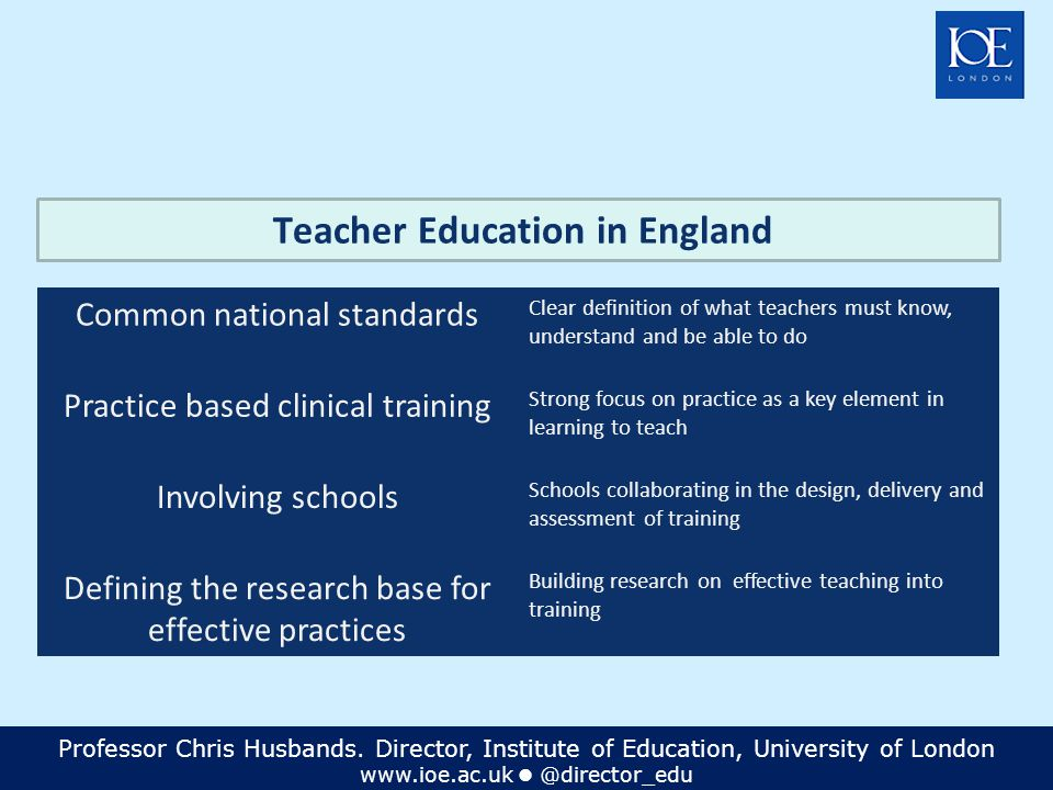 Professor Chris Husbands. Director, Institute of Education, University of London www.ioe.ac.uk @director_edu Teacher Education in England Common natio