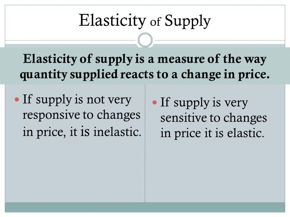 Elasticity of supply is a measure of the way quantity supplied reacts to a change in price.