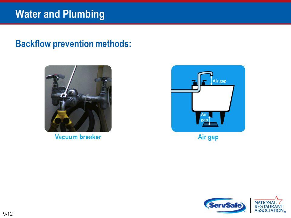 Vacuum breaker Backflow prevention methods: Air gap 9-12 Water and Plumbing