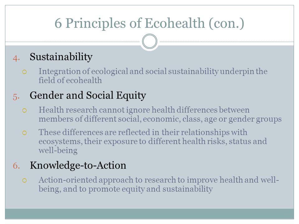 6 Principles of Ecohealth (con.) 4.