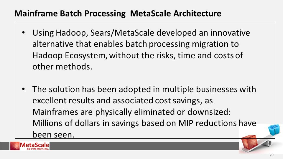 20 Mainframe Batch Processing MetaScale Architecture Using Hadoop, Sears/MetaScale developed an innovative alternative that enables batch processing migration to Hadoop Ecosystem, without the risks, time and costs of other methods.