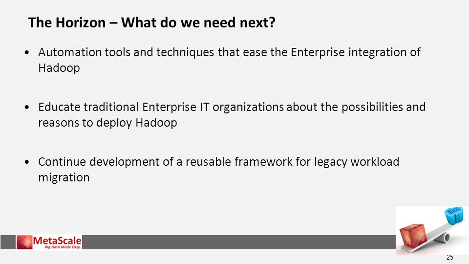 25 Automation tools and techniques that ease the Enterprise integration of Hadoop Educate traditional Enterprise IT organizations about the possibilities and reasons to deploy Hadoop Continue development of a reusable framework for legacy workload migration The Horizon – What do we need next?