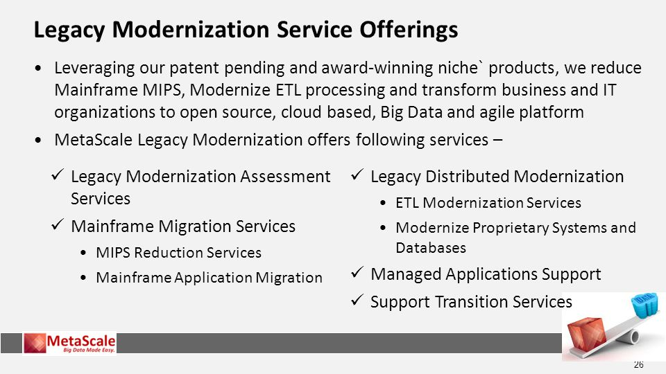 26 Legacy Modernization Service Offerings Leveraging our patent pending and award-winning niche` products, we reduce Mainframe MIPS, Modernize ETL processing and transform business and IT organizations to open source, cloud based, Big Data and agile platform MetaScale Legacy Modernization offers following services – Legacy Modernization Assessment Services Mainframe Migration Services MIPS Reduction Services Mainframe Application Migration Legacy Distributed Modernization ETL Modernization Services Modernize Proprietary Systems and Databases Managed Applications Support Support Transition Services