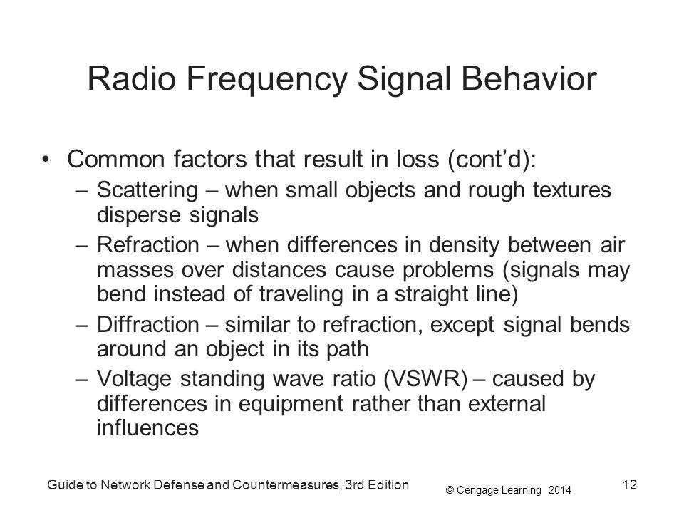 © Cengage Learning 2014 Guide to Network Defense and Countermeasures, 3rd Edition12 Radio Frequency Signal Behavior Common factors that result in loss