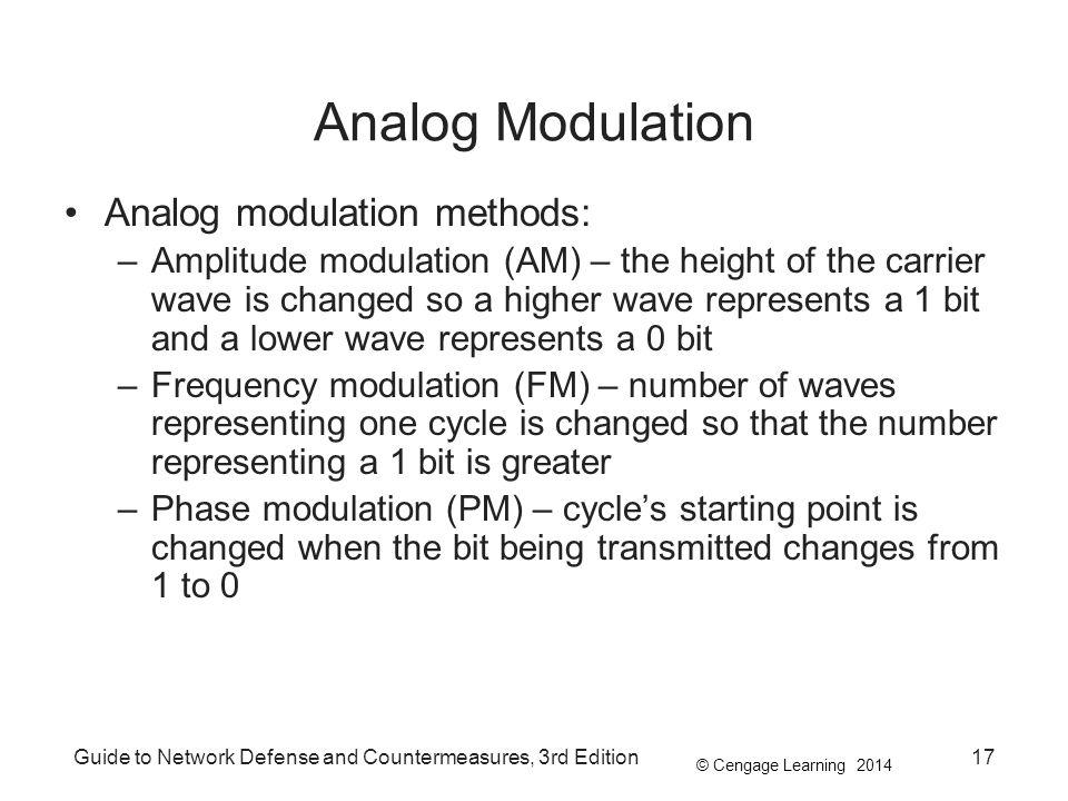 © Cengage Learning 2014 Guide to Network Defense and Countermeasures, 3rd Edition17 Analog Modulation Analog modulation methods: –Amplitude modulation
