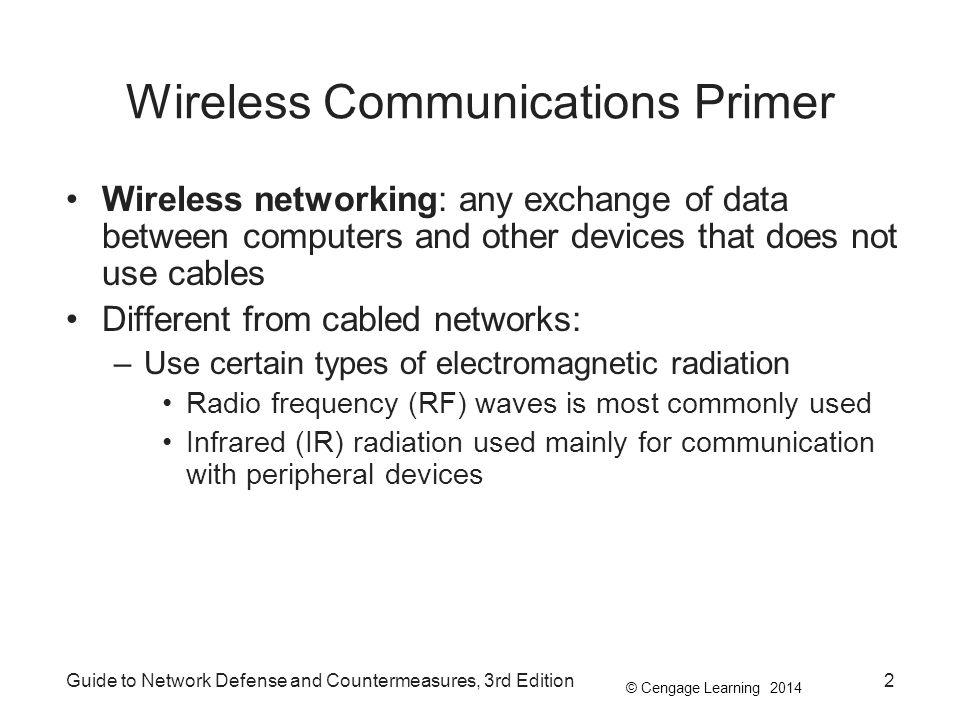© Cengage Learning 2014 Guide to Network Defense and Countermeasures, 3rd Edition2 Wireless Communications Primer Wireless networking: any exchange of