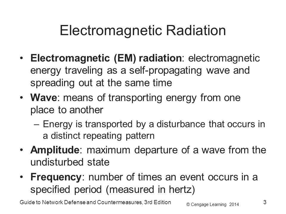 © Cengage Learning 2014 Guide to Network Defense and Countermeasures, 3rd Edition3 Electromagnetic Radiation Electromagnetic (EM) radiation: electroma