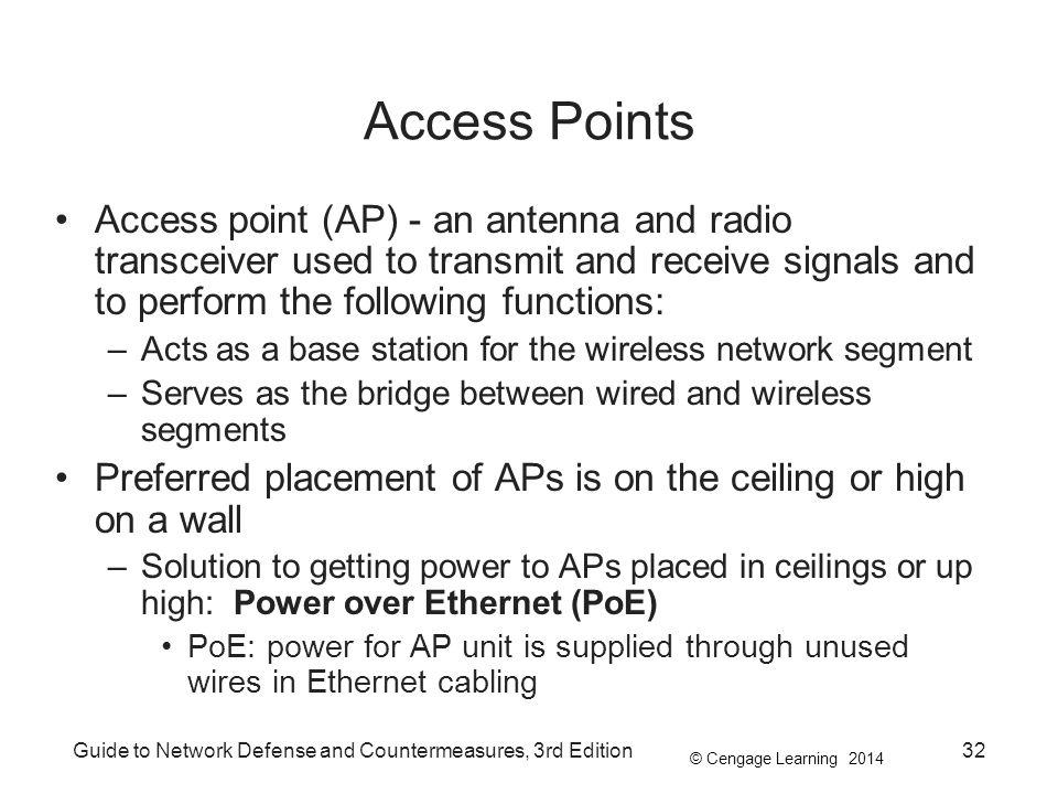 © Cengage Learning 2014 Guide to Network Defense and Countermeasures, 3rd Edition32 Access Points Access point (AP) - an antenna and radio transceiver