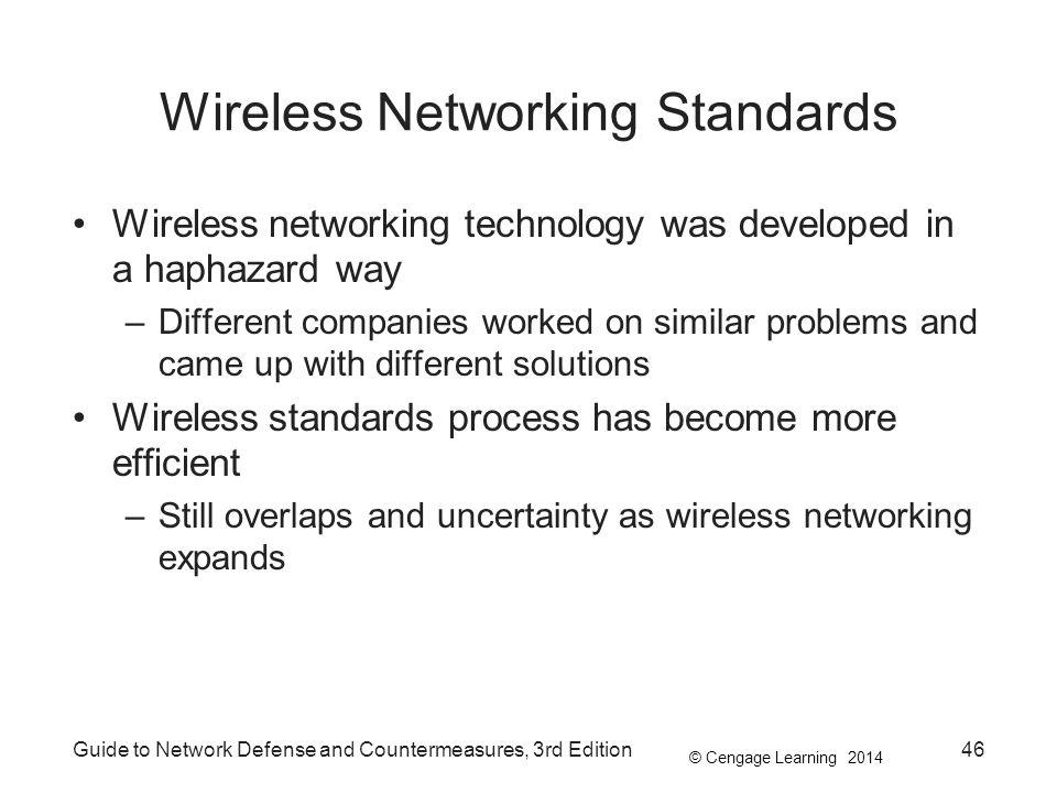 © Cengage Learning 2014 Wireless Networking Standards Wireless networking technology was developed in a haphazard way –Different companies worked on s