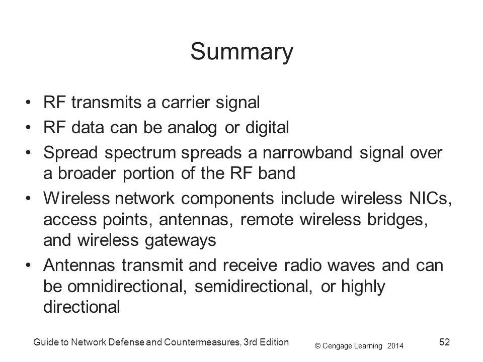 © Cengage Learning 2014 Guide to Network Defense and Countermeasures, 3rd Edition52 Summary RF transmits a carrier signal RF data can be analog or dig