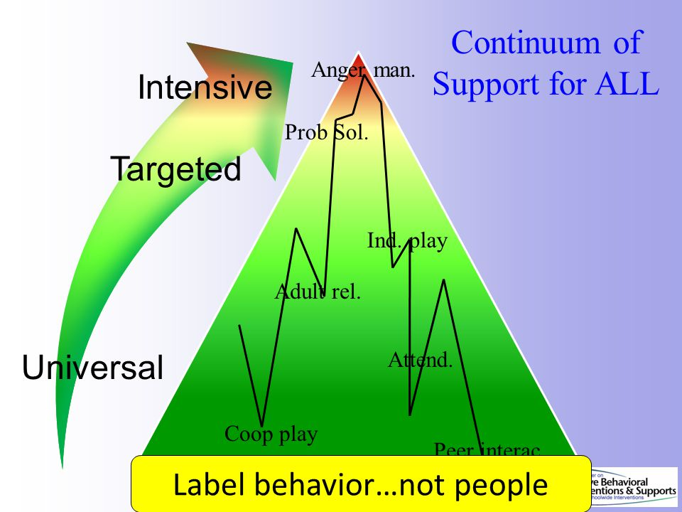 Continuum of Support for ALL Dec 7, 2007 Prob Sol. Coop play Adult rel. Anger man. Attend. Peer interac Ind. play Label behavior…not people