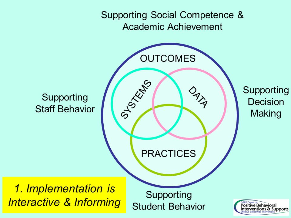 SYSTEMS PRACTICES DATA Supporting Staff Behavior Supporting Student Behavior OUTCOMES Supporting Social Competence & Academic Achievement Supporting D