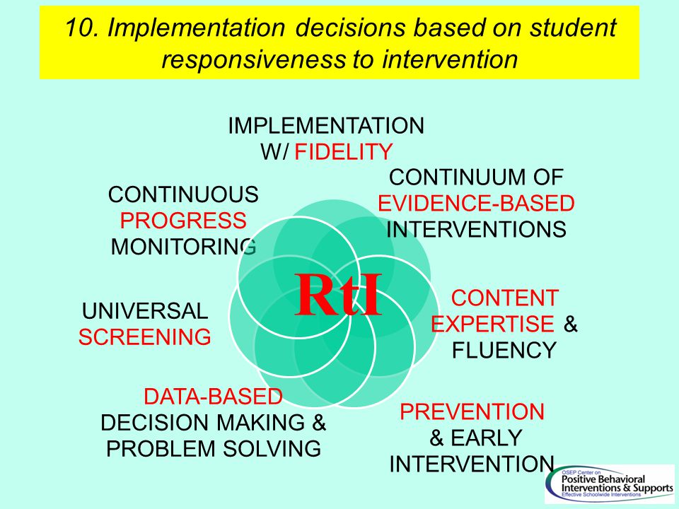 10. Implementation decisions based on student responsiveness to intervention RtI