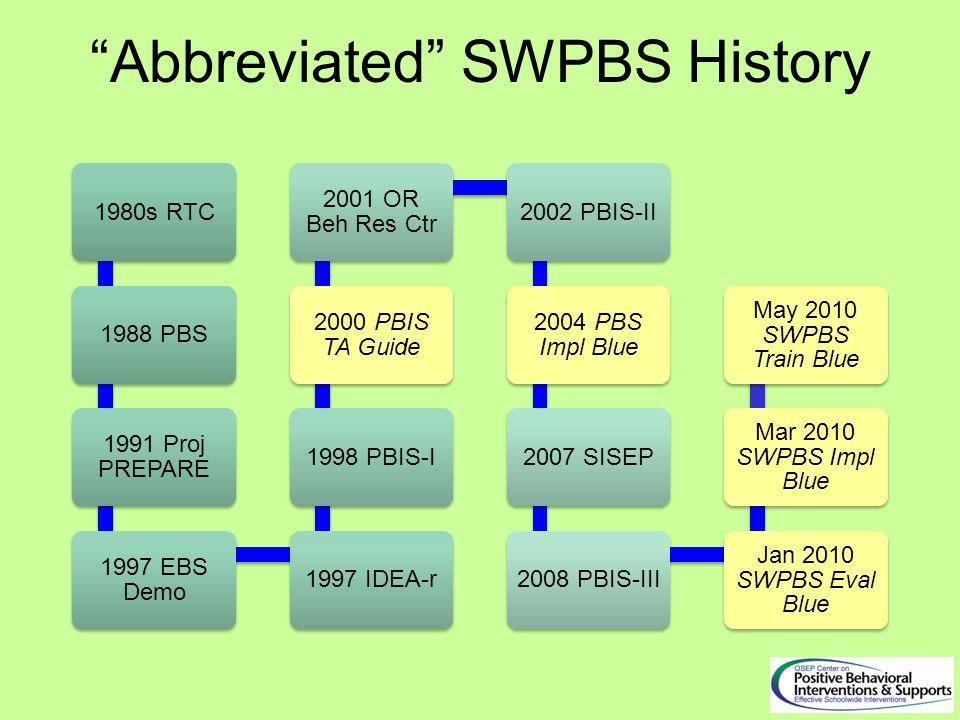Abbreviated SWPBS History