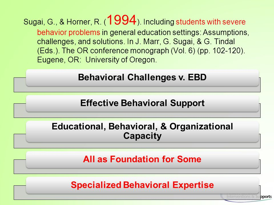 Classroom SWPBS Practices Non-classroom Family Student School-wide Smallest # Evidence-based Biggest, durable effect