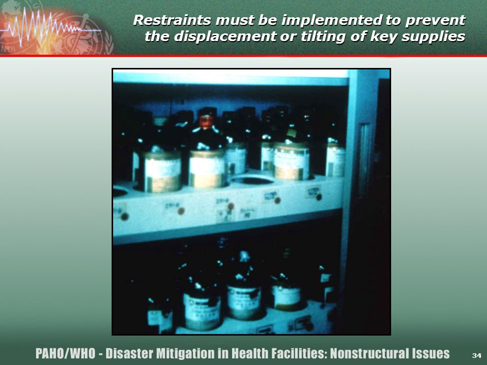 34 Restraints must be implemented to prevent the displacement or tilting of key supplies