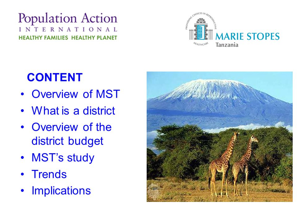 CONTENT Overview of MST What is a district Overview of the district budget MSTs study Trends Implications