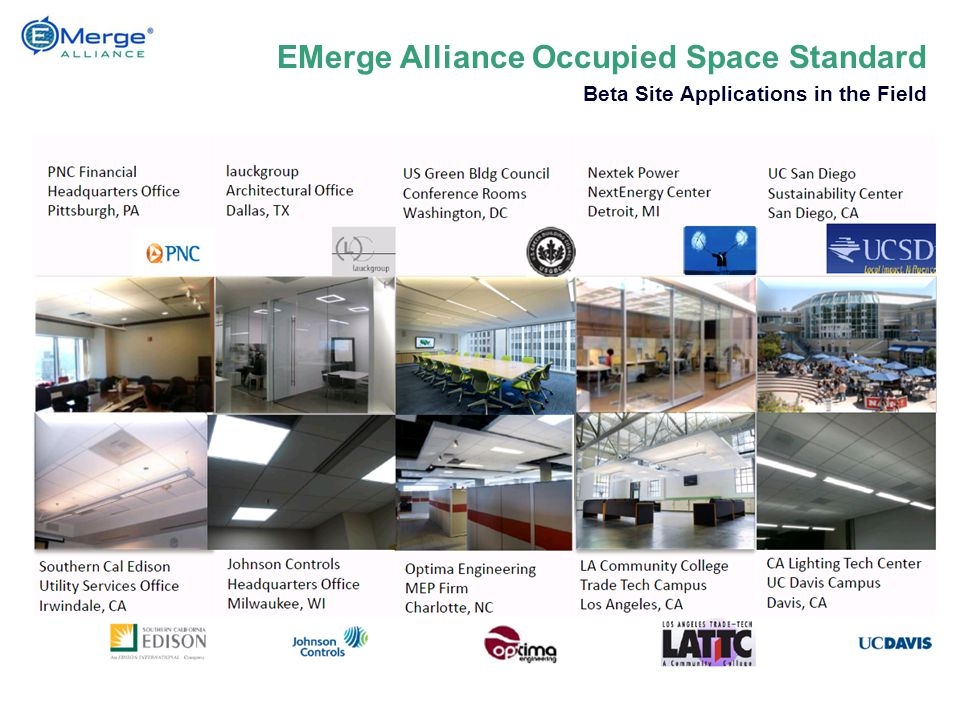 EMerge Alliance Occupied Space Standard Beta Site Applications in the Field