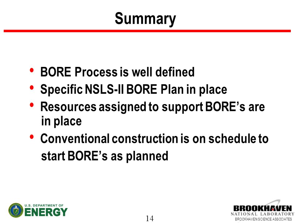 14 BROOKHAVEN SCIENCE ASSOCIATES Summary BORE Process is well defined Specific NSLS-II BORE Plan in place Resources assigned to support BOREs are in p