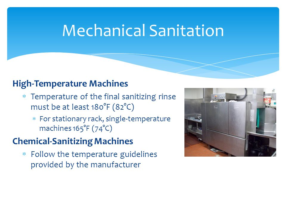 Help prevent unnecessary breakdowns Clean out machine daily Delime regularly Monitor and log daily: Wash temperature Final Rinse temperature Final Rinse Pressure Address mechanical issues as soon as possible Dish Machine Tips Before DelimingAfter Deliming
