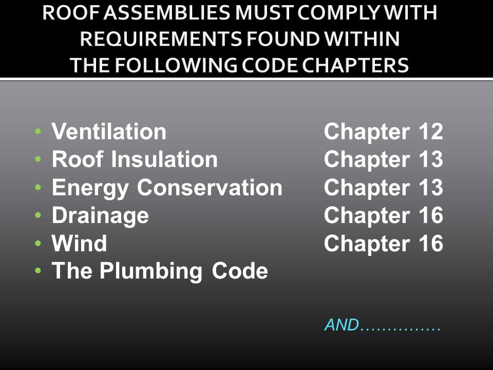 VentilationChapter 12 Roof InsulationChapter 13 Energy ConservationChapter 13 DrainageChapter 16 WindChapter 16 The Plumbing Code AND……………