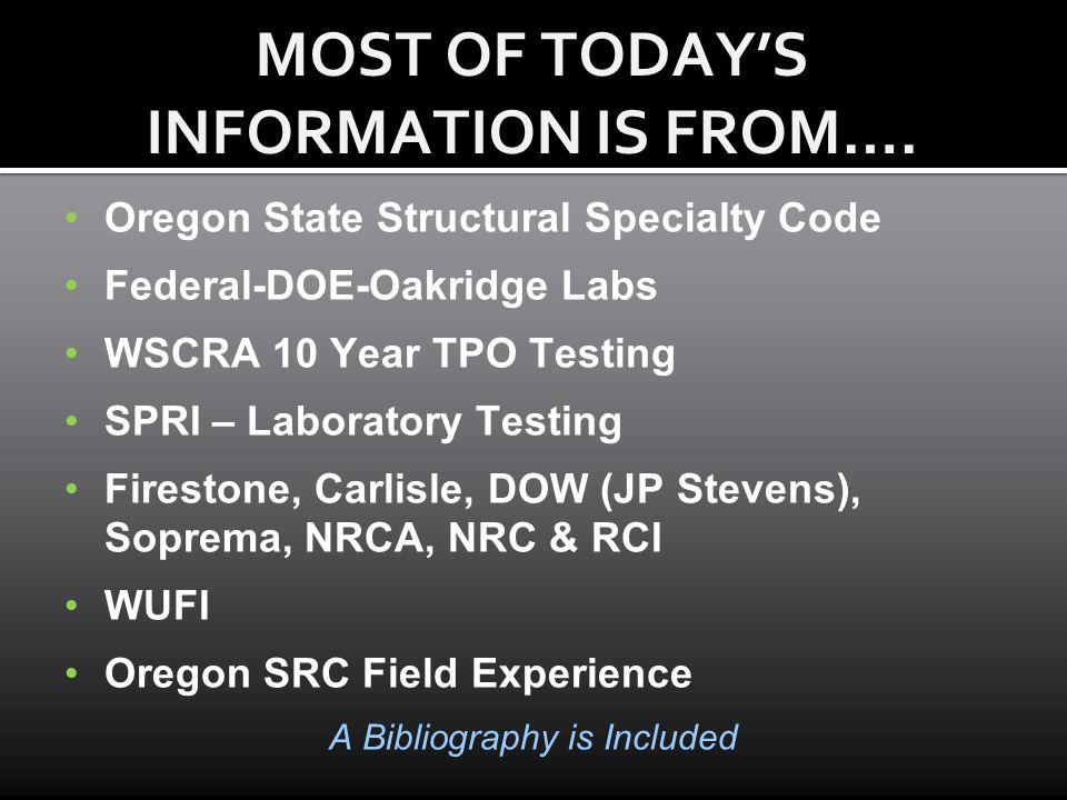 Oregon State Structural Specialty Code Federal-DOE-Oakridge Labs WSCRA 10 Year TPO Testing SPRI – Laboratory Testing Firestone, Carlisle, DOW (JP Stev