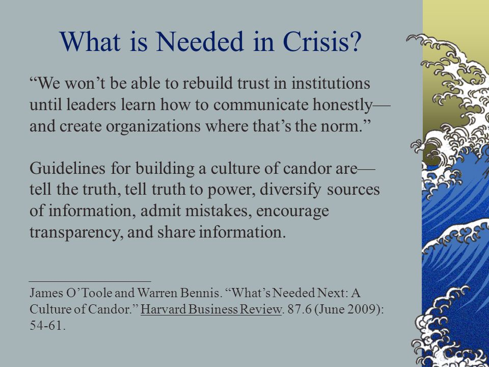 We wont be able to rebuild trust in institutions until leaders learn how to communicate honestly and create organizations where thats the norm. Guidel