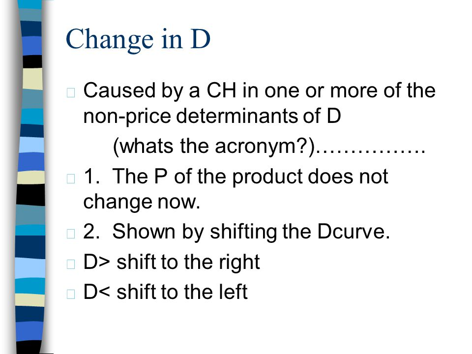 Change in QD – caused by a CH in the P of the product under consideration now. 1. shown by moving from one point to another along a stable/fixed deman