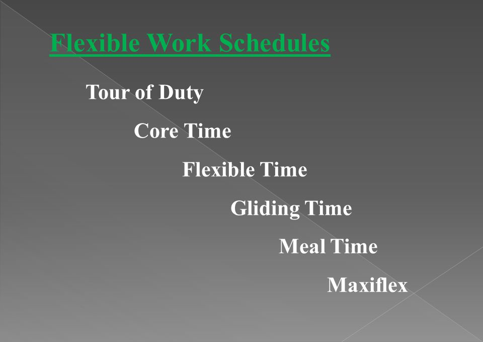 Flexible Work Schedules Tour of Duty Core Time Flexible Time Gliding Time Meal Time Maxiflex