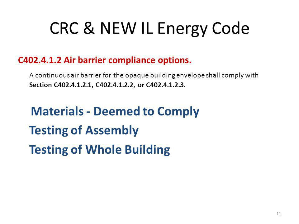 CRC & NEW IL Energy Code C402.4.1.2 Air barrier compliance options.