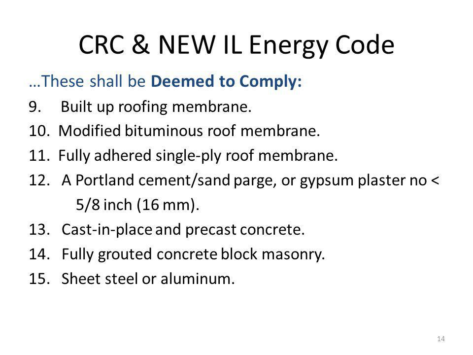 CRC & NEW IL Energy Code …These shall be Deemed to Comply: 9.